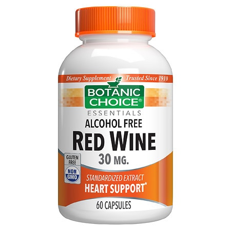 Botanic Choice Red Wine 30 mg Herbal Supplement Capsules