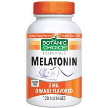Botanic Choice Melatonin 3 mg Dietary Supplement Lozenges Orange Flavored