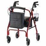GetGO Classic Rolling Walker w/ Cup Holder & Pouch Red