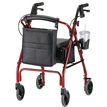 GetGO Classic Rolling Walker w/ Cup Holder & Pouch, Red
