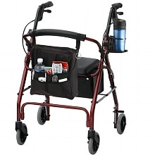 GetGO Classic Rolling Walker w/ Pouch & Cup Holder, Red