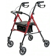 Set N Go Adjustable Height Rollator, Red