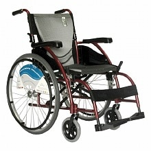 Karman 18 inch Wheelchair with Fixed Armrests and Footrests, 27 lbs. Red