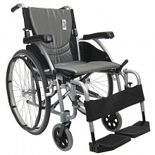 18 inch Aluminum Wheelchair with Swing Away Footrests, 25 lbs., Silver