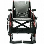 Karman 18 inch Aluminum Wheelchair with Swing Away Footrests, 25 lbs. Red
