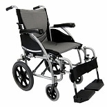 Karman 16 inch Aluminum Transport Wheelchair, 22 lbs. Silver