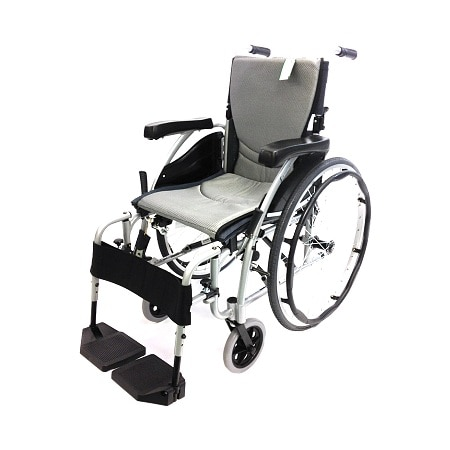 Karman 18 inch Aluminum Wheelchair with Height Adjustable Flip-Back Armrests , 29 lbs. Silver