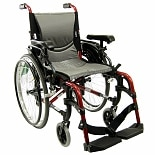 18 inch Aluminum Wheelchair with Height Adjustable Flip-Back Armrests , 29 lbs.Red