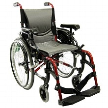 18 inch Aluminum Wheelchair with Height Adjustable Flip-Back Armrests , 29 lbs., Red