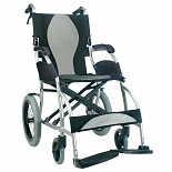 Karman 18 inch Aluminum Lightweight Transport Chair, 22 lbs. Silver