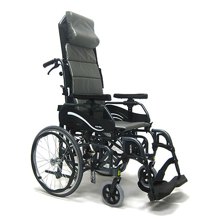 Karman 18 inch Tilt in Space Reclining Aluminum Wheelchair, 38 lbs. Black