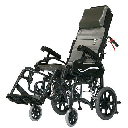 Karman 18 inch Tilt in Space Reclining Aluminum Transport Wheelchair, 34 lbs. Black