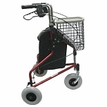 Karman 3 Wheel Aluminum Rollator, 13 lbs. Red