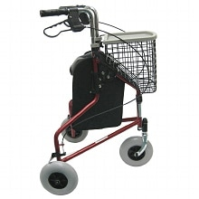 3 Wheel Aluminum Rollator, 13 lbs., Red