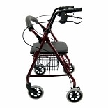 Junior Aluminum Rollator with Loop Brakes, 11 lbs.Red