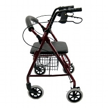 Karman Junior Aluminum Rollator with Loop Brakes, 11 lbs. Red