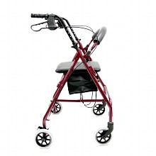 Karman Aluminum Rollator with Loop Brakes, 11 lbs. Red