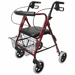 Aluminum Rollator with Loop Brakes and 8 inch Wheels, 15 lbs.Burgundy