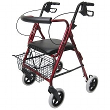 Karman Aluminum Rollator with Loop Brakes and 8 inch Wheels, 15 lbs. Burgundy
