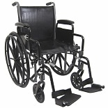 18 inch Steel Wheelchair with Removable Armrests, 39 lbs.
