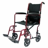 17 inch Aluminum Lightweight Transport Chair, 19 lbs. Burgundy