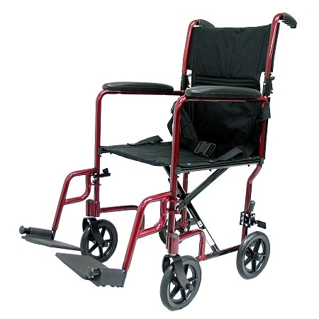 Karman 17 inch Aluminum Lightweight Transport Chair, 19 lbs. Burgundy