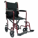 Karman 19 inch Aluminum Lightweight Transport Chair, 19 lbs. Burgundy