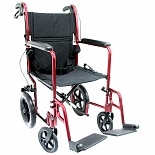 19 inch Aluminum Lightweight Transport Chair with Hand Brakes, 23 lbs.Burgundy