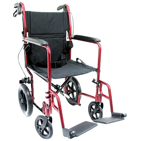Karman 19 inch Aluminum Lightweight Transport Chair with Hand Brakes, 23 lbs. Burgundy