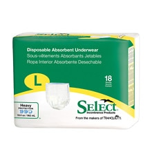 Select Disposable Absorbent Underwear, Large