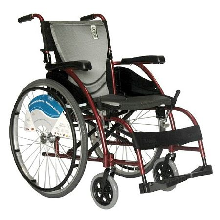 Karman 16 inch Aluminum Wheelchair with Fixed Armrests and Footrests, 27lbs Red