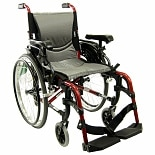 16 inch Aluminum Wheelchair with Flip-Back Armrests, 29lbs Red