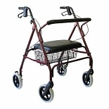 Karman Extra Wide Steel Bariatric Rollator, 20lbs Burgundy