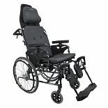 Karman Reclining 16 inch Aluminum Transport Wheelchair, 36lbs Black
