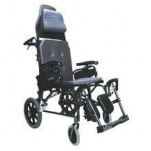 Reclining 18 inch Aluminum Transport Wheelchair, 33lbs, Black