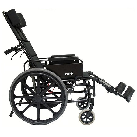 Karman Ultra-Lightweight 18 inch Aluminum Reclining Wheelchair, 36lbs Black