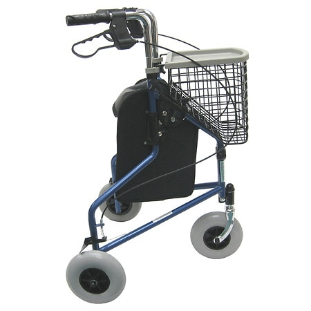 Karman 3 Wheel Steel Rollator, 13lbs Blue