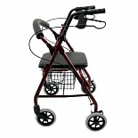 Aluminum Rollator with Low Seat, 11lbsBurgundy