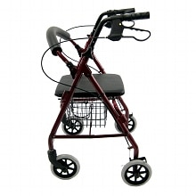 Karman Aluminum Rollator with Low Seat, 11lbs Burgundy