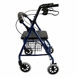 Aluminum Rollator with Low Seat, 11lbsBlue