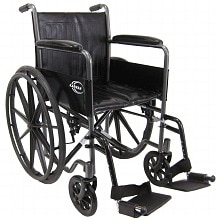 18 inch Steel Wheelchair with Fixed Armrests, 37lbs, Silver