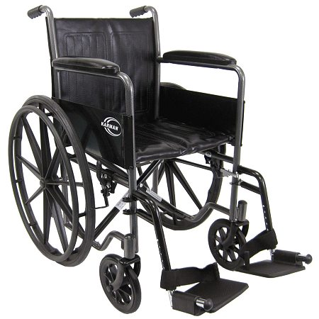 Karman 18 inch Steel Wheelchair with Fixed Armrests, 37lbs Silver