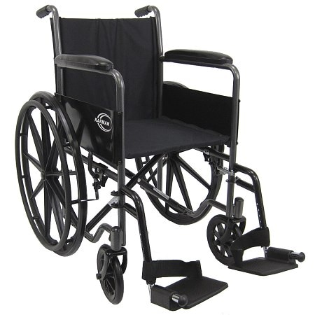 Karman Lightweight 18 inch Steel Wheelchair with Fixed Armrests, 34lbs Silver