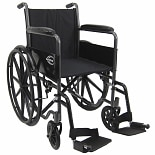 Karman Lightweight 16 inch Steel Wheelchair with Fixed Armrests, 34lbs Silver