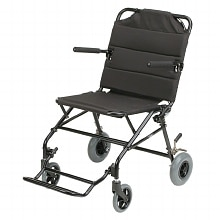 18 inch Aluminum Ultra-lightweight Travel Chair with Flip-Back Armrests, 18lbs, Black