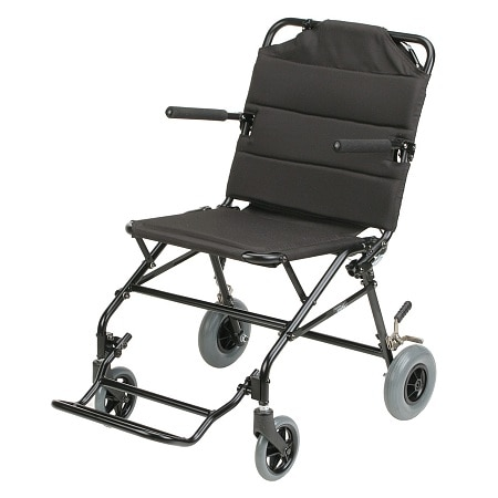 Karman 18 inch Aluminum Ultra-lightweight Travel Chair with Flip-Back Armrests, 18lbs Black