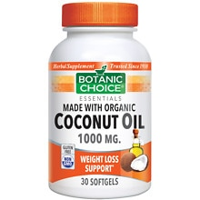 Organic Coconut Oil 1000 mg Herbal Supplement Softgels