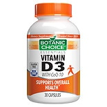 Vitamin D3 with CoQ10 Dietary Supplement Capsules