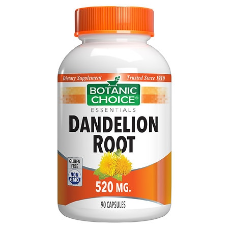 Botanic Choice Dandelion Root 520 mg Herbal Supplement Capsules