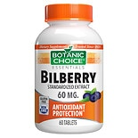 Botanic Choice Bilberry Extract 60 mg Herbal Supplement Tablets